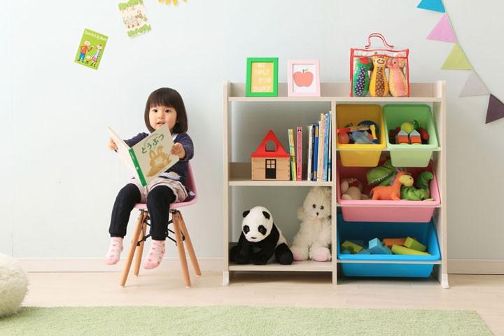 おもちゃ箱玩具箱おもちゃオモチャ収納収納ラック収納ボックスキッズ収納子供部屋子ども部屋キッズ子供子どもこども女の子子供用片付けお片付け知育家具本棚付トイハウスラックHTHR-34パステルキャロットウォールナットブラウンアイリスオーヤマ