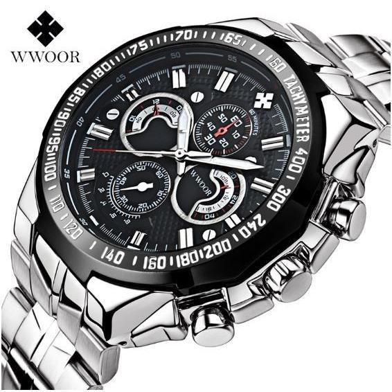 腕時計 メンズ ブランド シルバー ブルー 送料無料 おしゃれ 5気圧防水 WWOOR クオーツ|inter-gallery-fasao|24