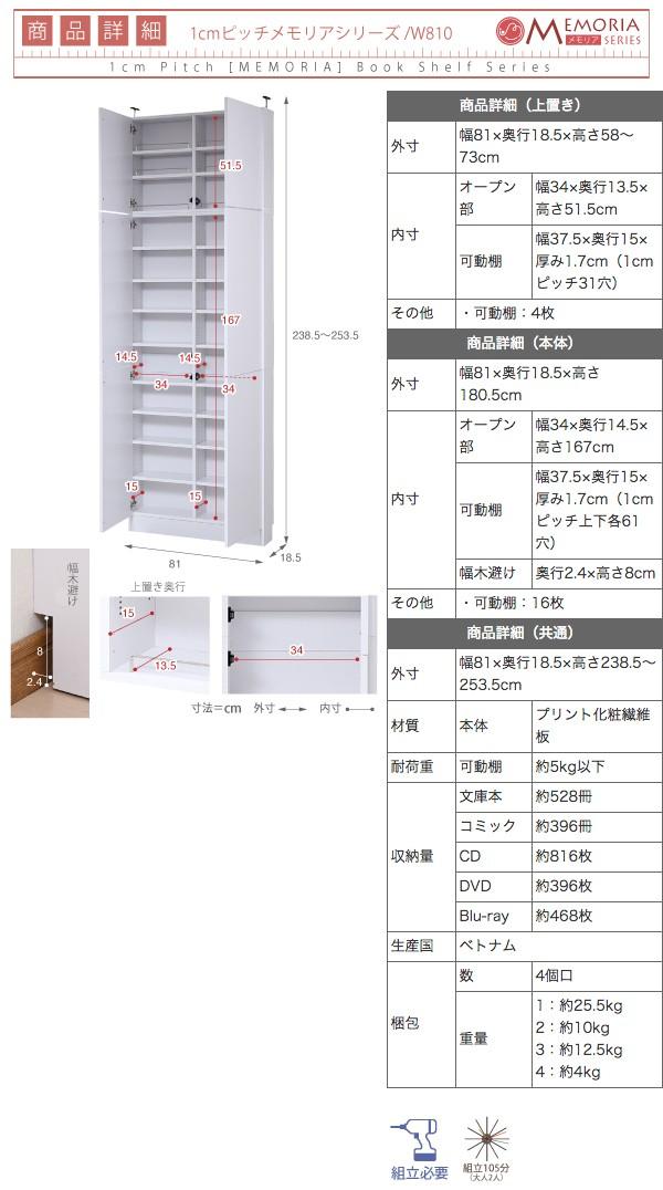 MEMORIA 棚板が1cmピッチで可動する 薄型扉付幅81 上置きセット FRM-0101DOORSET