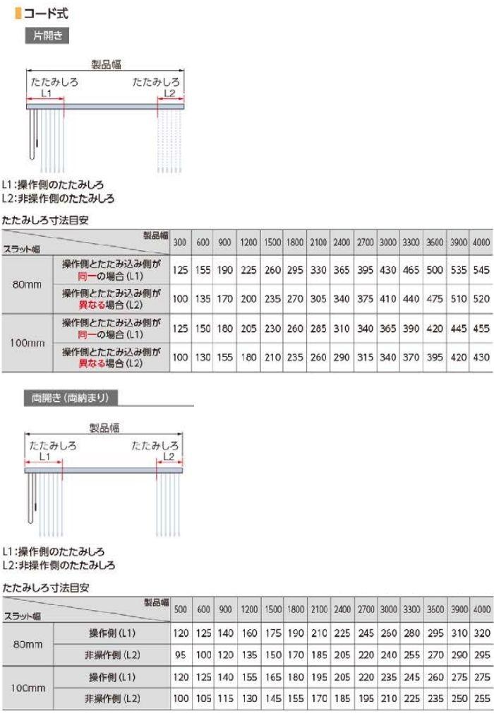 たたみ代寸法 コード式