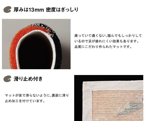 厚みは13mm密度はぎっしり 床暖房にも対応した滑り止め付き