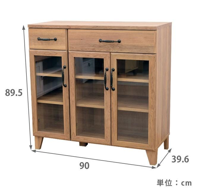 アンティーク調ロータイプ食器棚 サイズ詳細