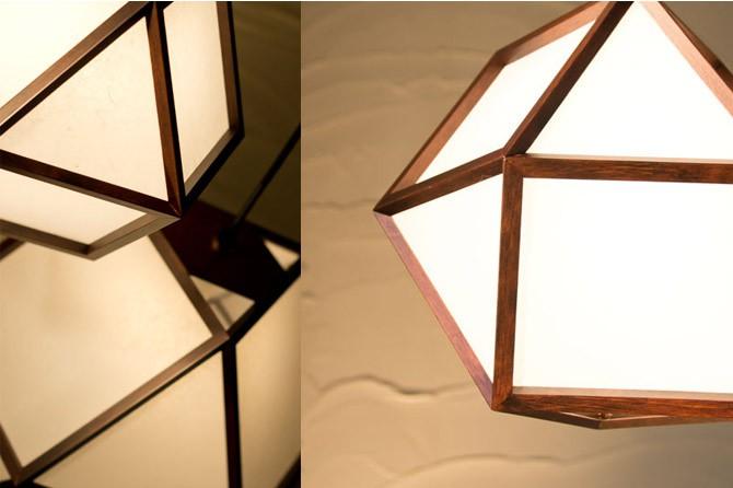 和モダン照明 的ペンダントライト 静岡の職人手作り。天然木材と和紙(ワーロン)を組み合わせた和モダン照明
