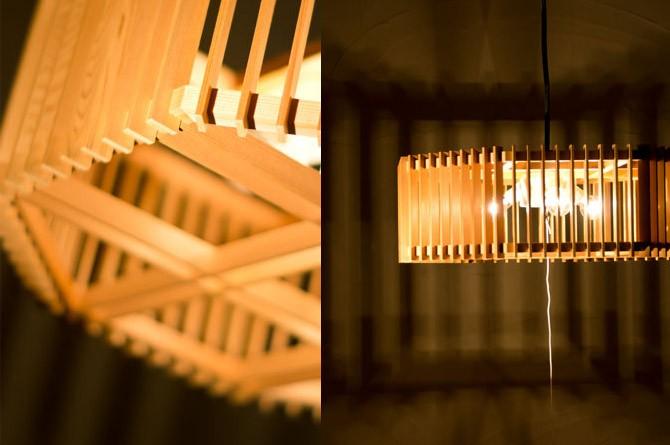和モダン照明 囲ペンダントライト 静岡の職人手作り。天然木材と和紙(ワーロン)を組み合わせた和モダン照明