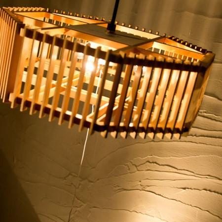 和モダン照明 彩ペンダントライト 天然木を使用し、静岡の職人の手で木を裁断・組み上げています。