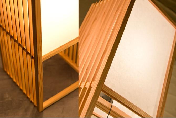 和モダン照明 調フロアライト 静岡の職人手作り。天然木・杉材と和紙(ワーロン)を組み合わせた和モダン照明