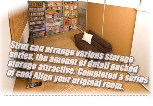 突っ張りパーテーション DVD・コミック・CD収納 ダークブラウン 幅60cm