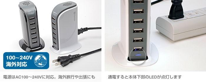電源はAC100〜240Vに対応。海外旅行や出張にも。通電すると本体下部のLEDが点灯します
