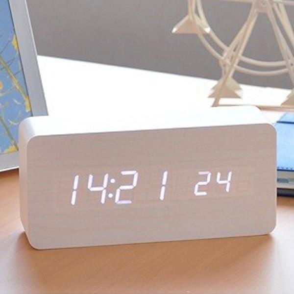 置き時計 北欧風 デジタル 置時計 おしゃれ 木目調 目覚まし時計 音感センサー クロック アラーム カレンダー 温度計 iristopmart123 09