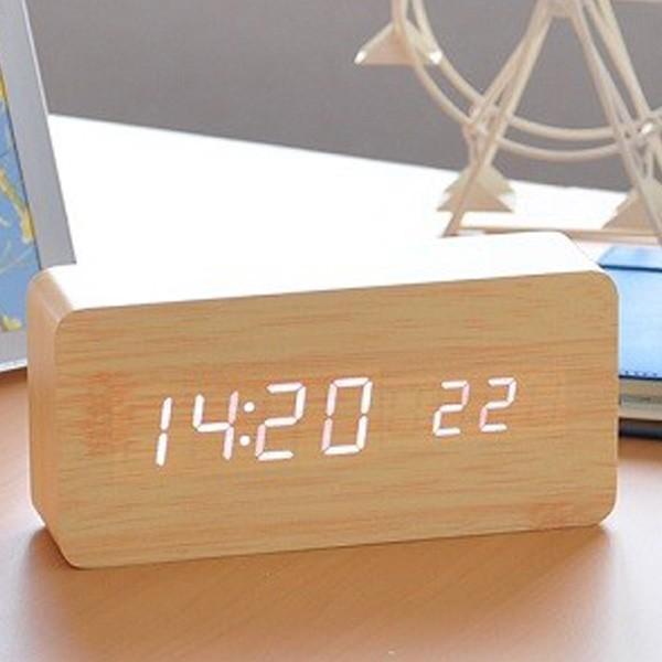 置き時計 北欧風 デジタル 置時計 おしゃれ 木目調 目覚まし時計 音感センサー クロック アラーム カレンダー 温度計 iristopmart123 10