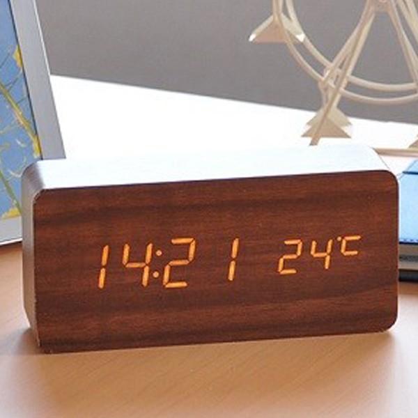 置き時計 北欧風 デジタル 置時計 おしゃれ 木目調 目覚まし時計 音感センサー クロック アラーム カレンダー 温度計 iristopmart123 11