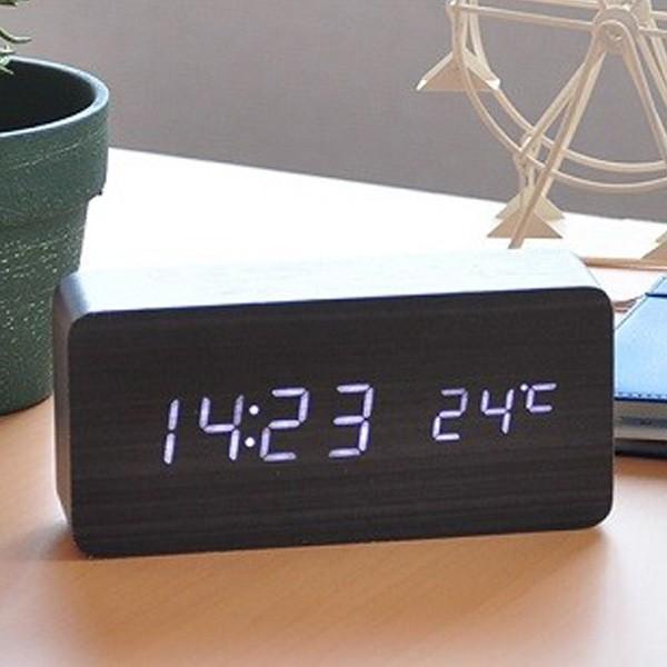 置き時計 北欧風 デジタル 置時計 おしゃれ 木目調 目覚まし時計 音感センサー クロック アラーム カレンダー 温度計 iristopmart123 12