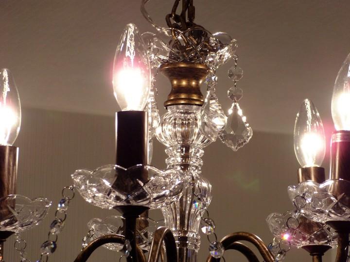 5灯 シャンデリア ガラスビーズ アンティークブラウン