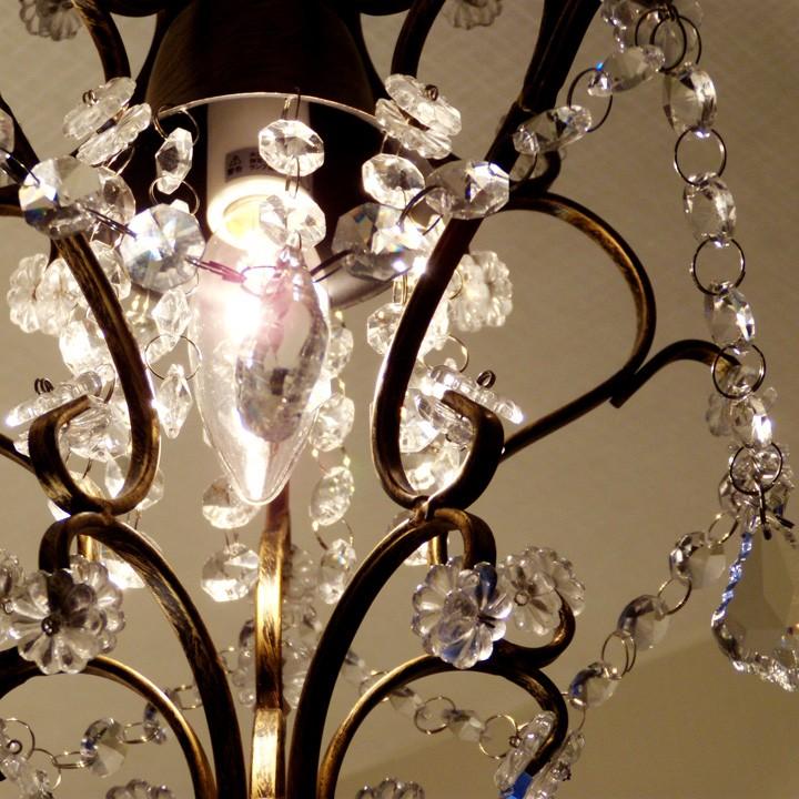 1灯 シャンデリア ガラスビーズ アンティークブラウン