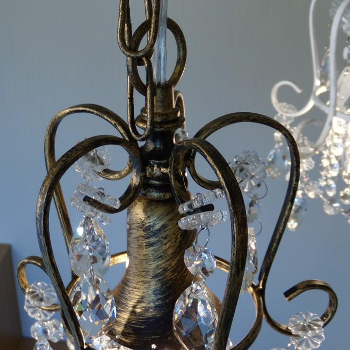 ガラスプチシャンデリア 1灯 アンティークブラウン