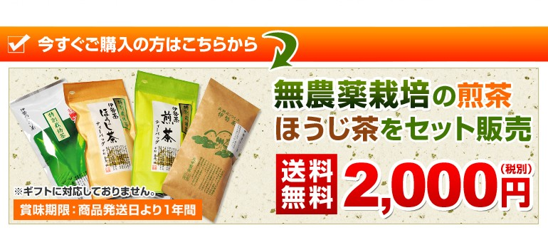 無農薬栽培の煎茶・ほうじ茶をセット販売 送料無料2000円