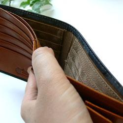 ダブルブライドルレザー財布札入れ