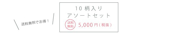 1個あたり 10柄入りアソートセット 送料無料5,000円(税抜)