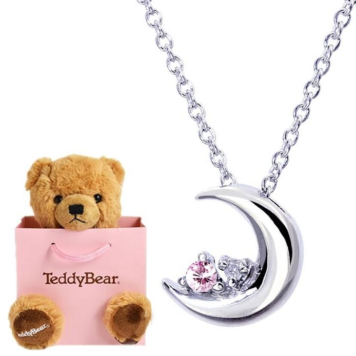 ネックレス レディース 誕生日プレゼント 女性 クレセントムーン ダイヤモンド 12誕生石 10月 テディベア ぬいぐるみ