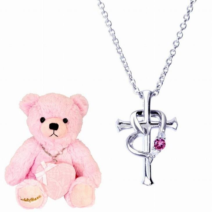 ネックレス レディース クロス ハート (十字架) ダイヤ&誕生石 ネックレス テディベア 誕生日プレゼント 女性