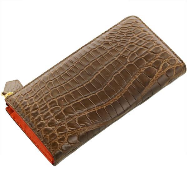 クロコダイル L字型 ファスナー 長財布 バイカラー マット加工 パイソン革使用 レディース 全14色|j-white|22