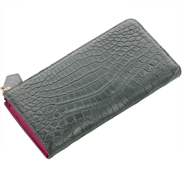 クロコダイル L字型 ファスナー 長財布 バイカラー マット加工 パイソン革使用 レディース 全14色|j-white|25