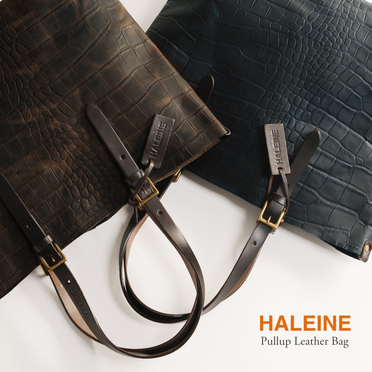 [HALEINE] 牛革 バッグ クロコダイル 型押し