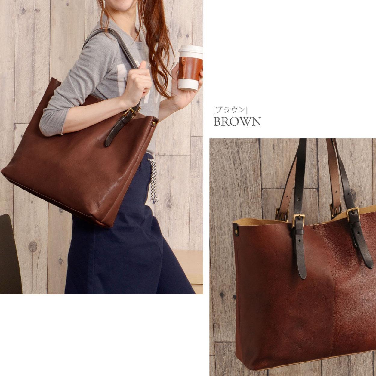[HALEINE] 牛革 バッグ 切りっぱなし ブラウン キャメル