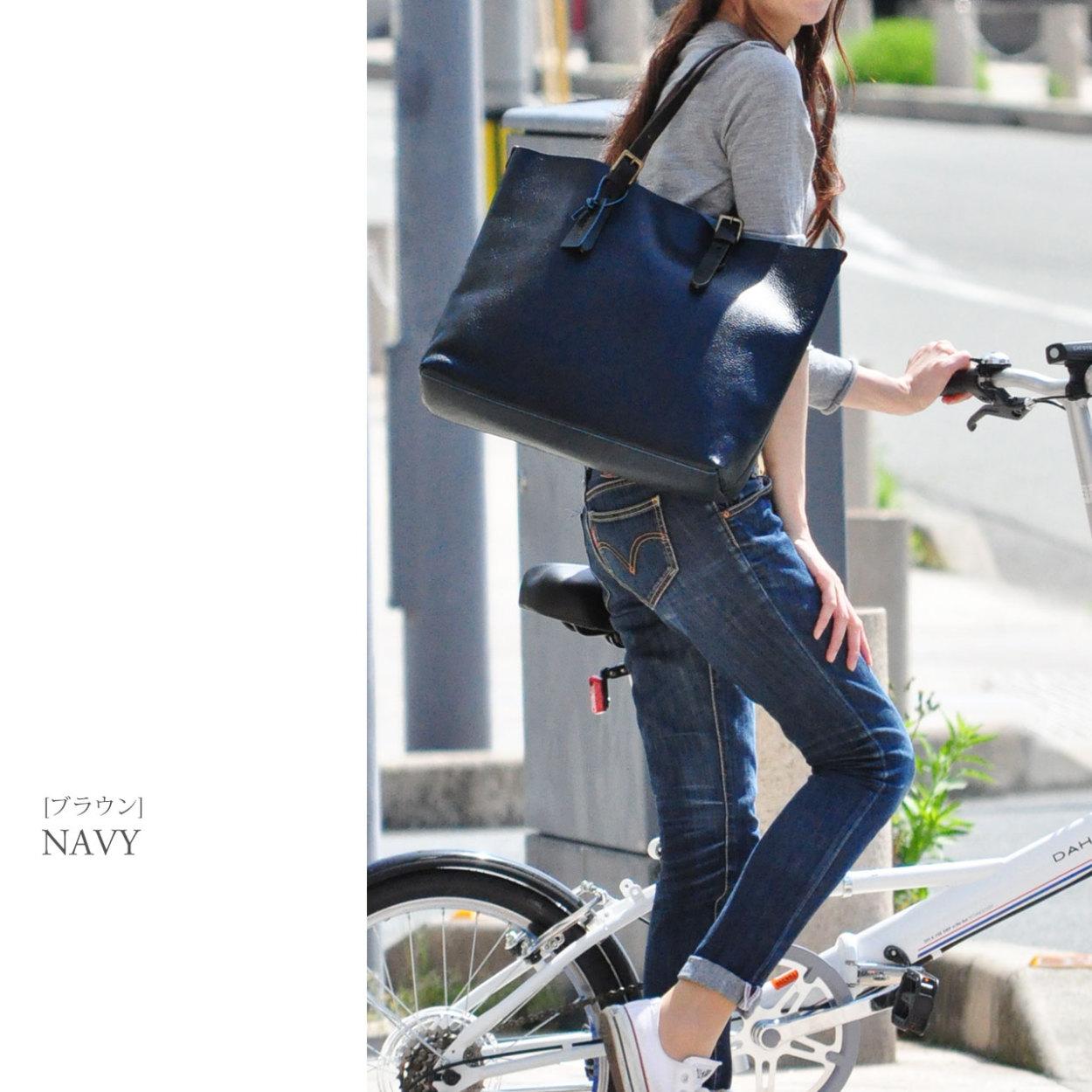 [HALEINE] 牛革 バッグ 切りっぱなし ネイビー オレンジ
