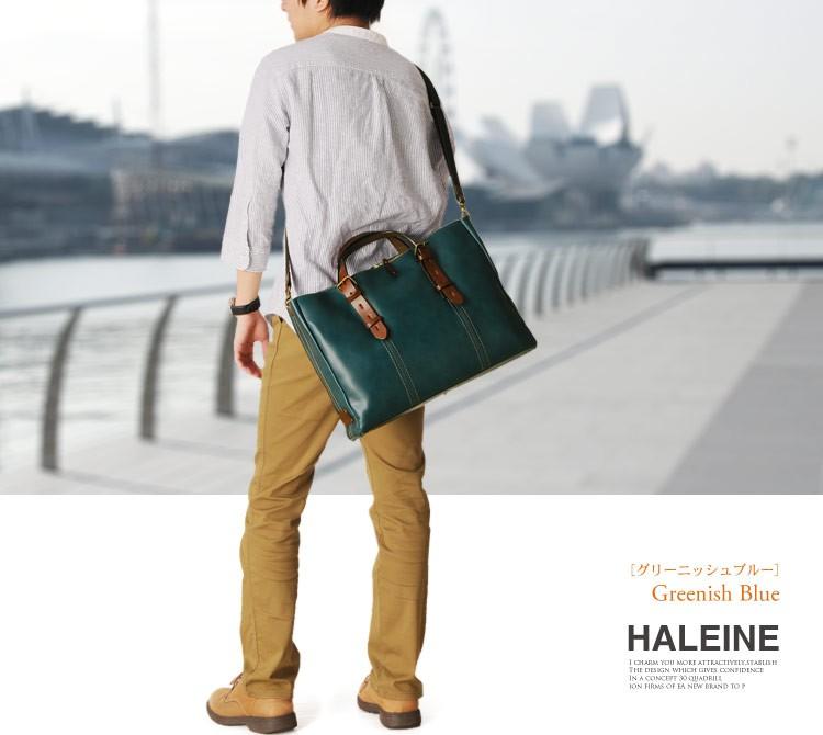 HALEINE[アレンヌ] 牛革 ビジネス バッグ 大 2way 日本製 ヌメ革 ハンドル ステッチ デザイン / メンズ (No.07000141-mens-1)