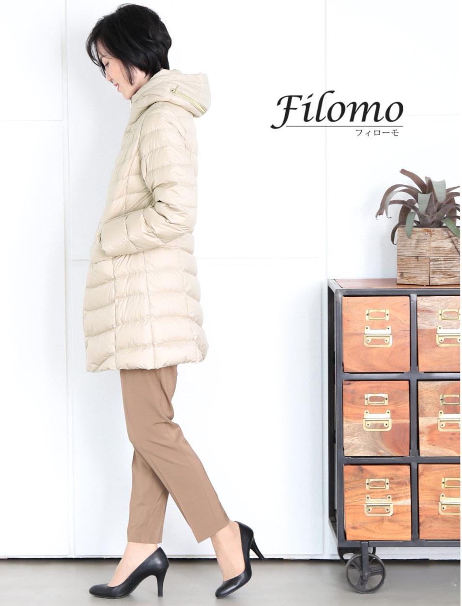Filomo ブランド ミドル丈 ダウンコート レディース フード付き 綺麗 婦人 女性 アウター 暖かい