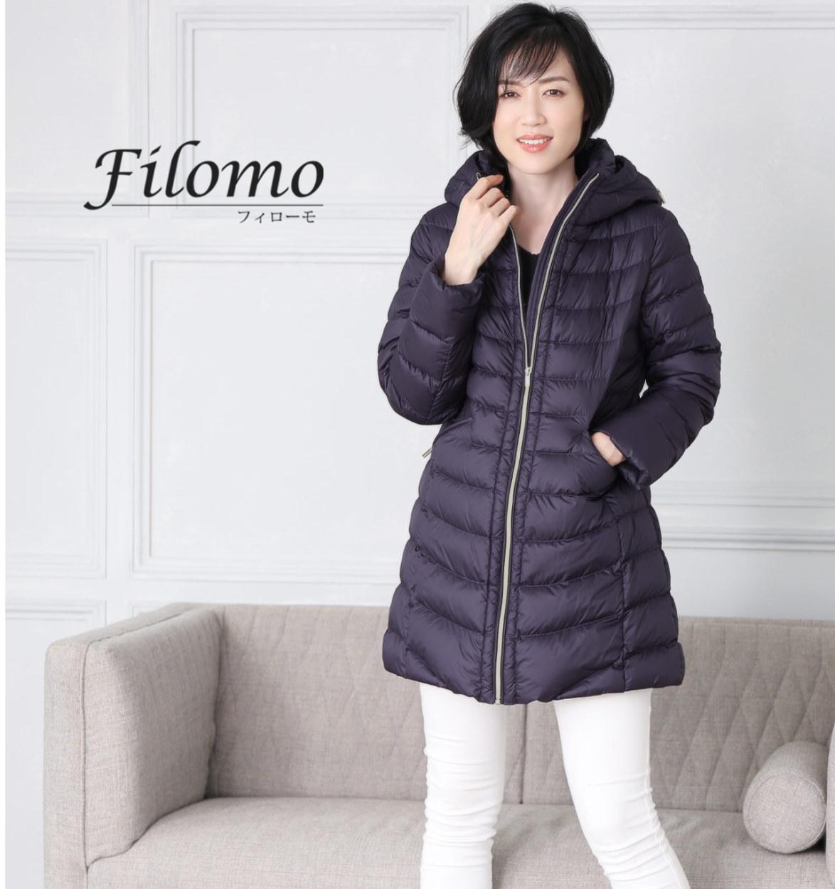 Filomo ブランド ミドル丈 ダウンコート レディース フード付き 軽い