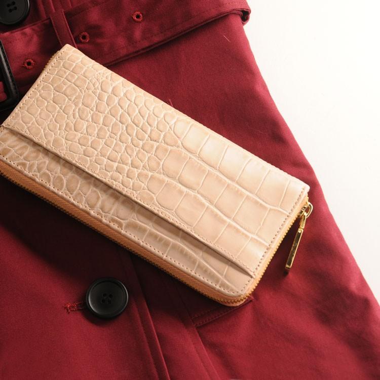 牛革 レディース 長財布 クロコダイル 型押し ゴールド ファスナー