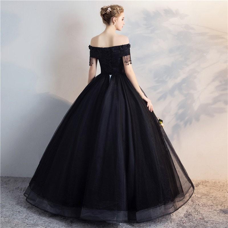 3283088c49a17 カラードレス 黒 花嫁 ステージ衣装 プロム ドレス 演奏会 パーティー ...