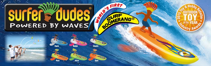 サーファードール 海遊びのお供に 世界初のサーフブーメラン 'Surfer Dudes' 海に向かって投げるだけ。それだけで上手に波を捉えてあなたのもとへ戻ってきます?