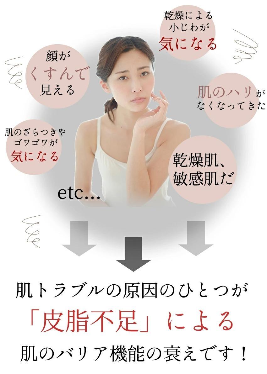 肌トラブルの原因のひとつが「皮脂不足」により肌のバリア機能の衰えです!