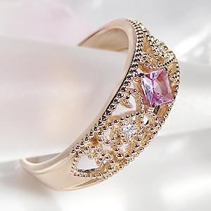 商品画像2 K18PG ミル打ち ピンクサファイア&ダイヤモンド リング