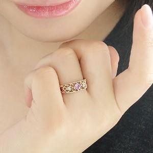 商品画像3 K18PG ミル打ち ピンクサファイア&ダイヤモンド リング