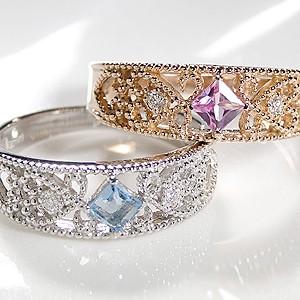 商品画像4 K18PG ミル打ち ピンクサファイア&ダイヤモンド リング