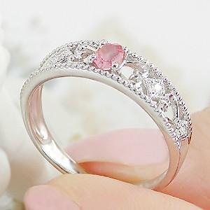 商品画像4 pt900 パパラチアサファイアダイヤモンドリング
