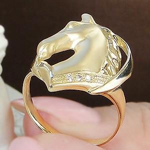 商品画像4 K18YG ダイヤモンド ホース リング