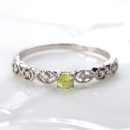 商品画像3 PT900希少石スフェーン・天然ダイヤモンドリング