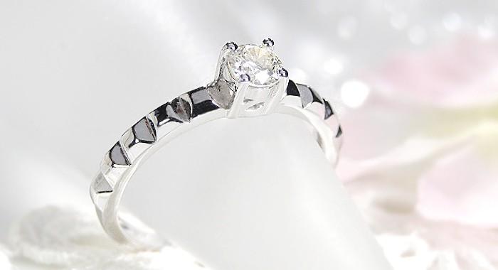 k18WG【0.3ctUP】一粒 ダイヤモンドリング