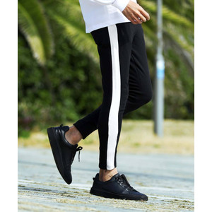 スウェットパンツ ジョガーパンツ メンズ ボトムス テーパードパンツ ジップ 伸縮 スリム サイドライン ゴルフウェア 送料無料|JIGGYS SHOP
