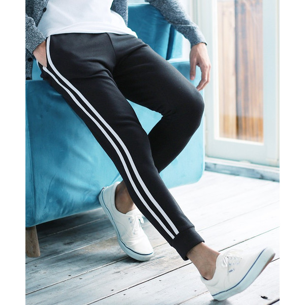 【ポイント2倍】 スウェットパンツ ジョガーパンツ メンズ ボトムス テーパードパンツ 伸縮 スリム 迷彩柄 サイドライン 春 春服 送料無料 jiggys-shop 30