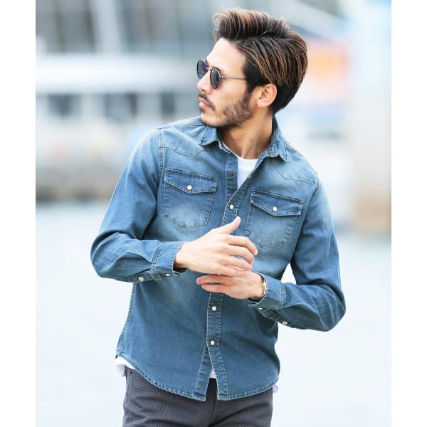 デニムシャツ メンズ トップス 長袖シャツ 7分袖シャツ 選べる2タイプ ウエスタンシャツ ストレッチ 春 春服 送料無料|jiggys-shop|16