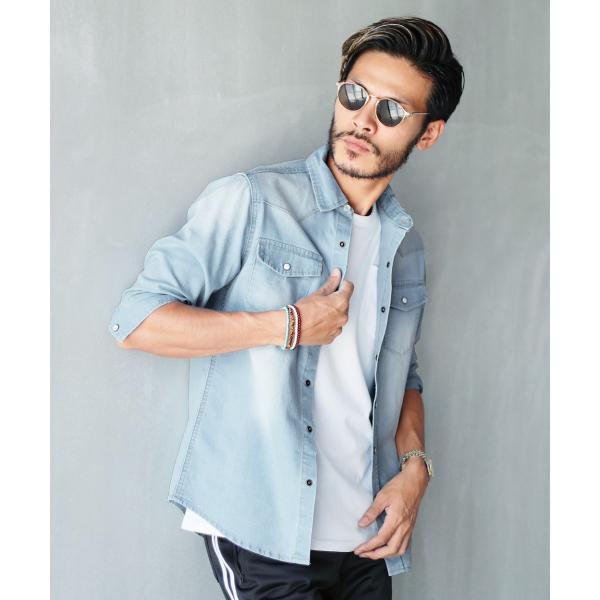 デニムシャツ メンズ トップス 長袖シャツ 7分袖シャツ 選べる2タイプ ウエスタンシャツ ストレッチ 春 春服 送料無料|jiggys-shop|19