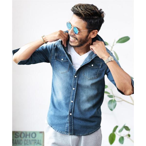 デニムシャツ メンズ トップス 長袖シャツ 7分袖シャツ 選べる2タイプ ウエスタンシャツ ストレッチ 春 春服 送料無料|jiggys-shop|17