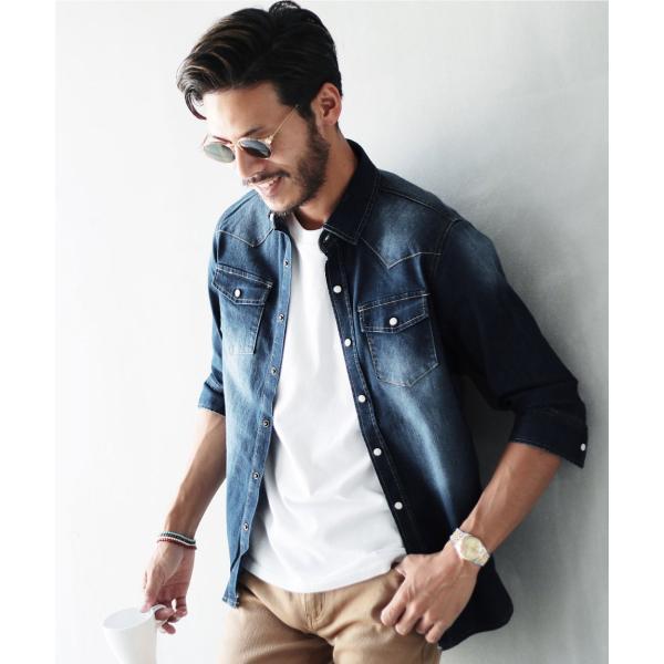 デニムシャツ メンズ トップス 長袖シャツ 7分袖シャツ 選べる2タイプ ウエスタンシャツ ストレッチ 春 春服 送料無料|jiggys-shop|21