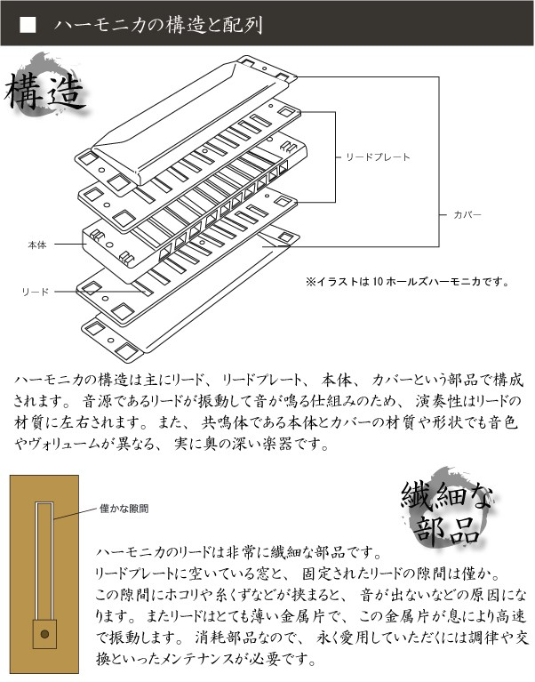 ハーモニカの構造と配列